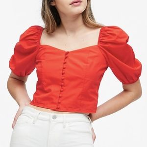 NWT Hot Red Puff-Sleeve Cropped Top